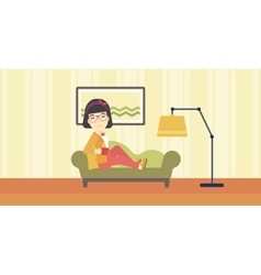 Wioman lying with cup of tea vector