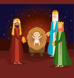 wise kings manger characters vector image