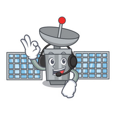With headphone satelite mascot cartoon style vector