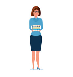 Young teacher with a hill of books in her hands vector