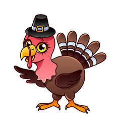 cartoon turkey isolated vector image
