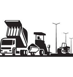 Construction of roads streets and highways vector image vector image
