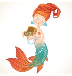 Cute mermaid holding a chest with pearls vector image vector image
