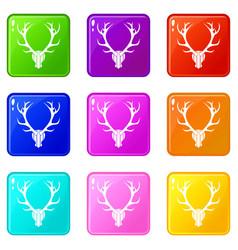 deer antler set 9 vector image vector image
