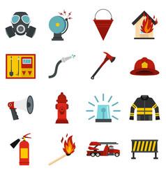 fireman tools set flat icons vector image