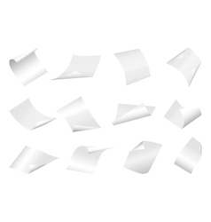 Flying blank paper sheets with curved corner on vector image