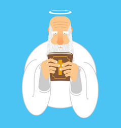 god and bible gray-haired old man with halo holy vector image