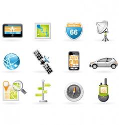 gps and navigation icon set vector image vector image