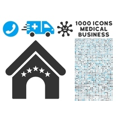 Hotel Building Icon with 1000 Medical Business vector image vector image