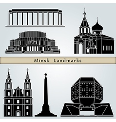 Minsk landmarks and monuments vector image