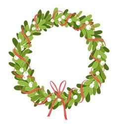 Mistletoe wreath isolated on white vector image