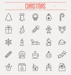set of new year and christmas thin line icons vector image