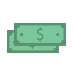 Stack of hundred dollars isolated on white vector image