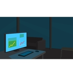 Working place late at night vector
