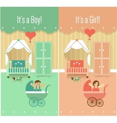 Baby Boy Girl Shower Invitation Cards Designs vector image vector image