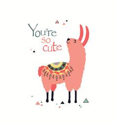 cute lama vector image vector image