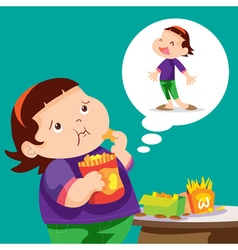 fat girl eating vector image
