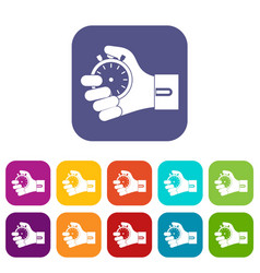 hand holding stopwatch icons set vector image vector image