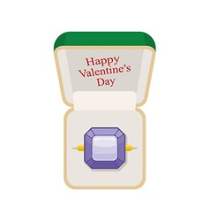 Happy Valentines day Amethyst ring in box Jewelry vector image vector image
