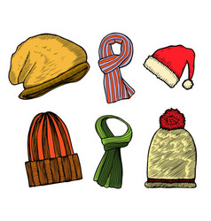 set of winter scarfs and caps vector image