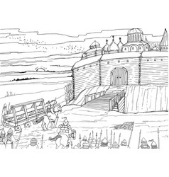siege of the slavic fortress nomads vector image vector image