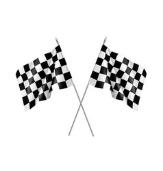 two racing flags crossed realistic vector image vector image