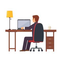 businessman programmer works vector image