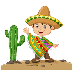 Cartoon boy wearing Mexican dress vector image