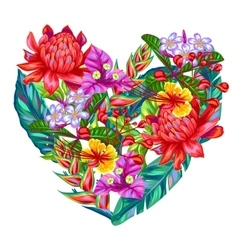 Decorative heart with thailand flowers tropical vector