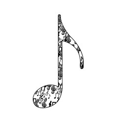 quaver note monochrome silhouette formed by vector image vector image