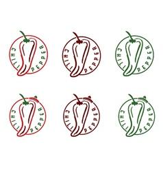 set of chili pepper emblems vector image