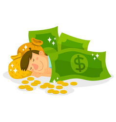 sleeping in money vector image