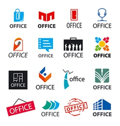 big set of logos office vector image