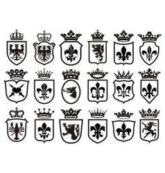 Coat of Arms set heraldic element vector image vector image