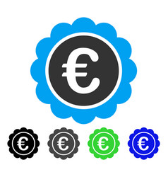 euro reward seal flat icon vector image