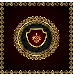 golden floral frame with heraldic elements - vector image vector image
