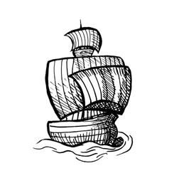 Sailing medieval ship vector