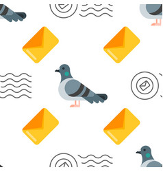 seamless pattern with dove and letter vector image vector image