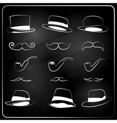set of hipster elemetns drawn with chalk vector image vector image