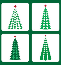set of icons with christmas trees vector image