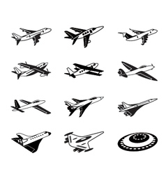 Various airplanes in flight vector image vector image