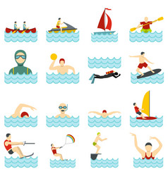 Water sport set flat icons vector
