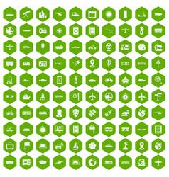 100 technology icons hexagon green vector