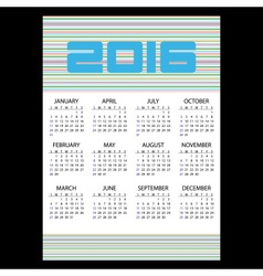 2016 simple business wall calendar with color vector image