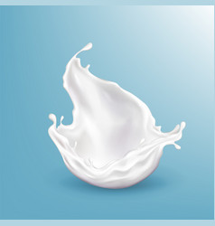 3d realistic milk splashing blue vector image