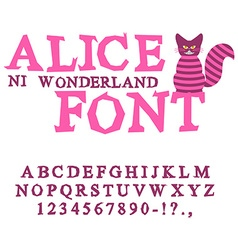 Alice in Wonderland font Fairy ABC mad Alphabet vector