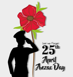 Anzac day holiday on 25 april memory vector