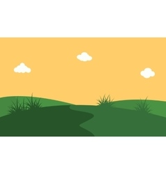 Art of hill with orang sky landscape vector
