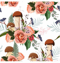 Autumn roses flowers herbs and mushrooms seamless vector