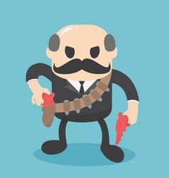 Bald businessman is head cowboy vector